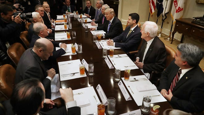 President Trump and his staff host congressional leaders on March 1, 2017. The president and Congress are working together to try and come up with a plan to repeal and replace the Affordable Care Act that doesn't alienate members of their party.