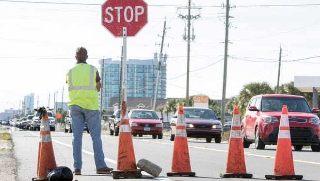 Traffic is backed up due to road work on Perdido Key Drive in Pensacola on March 2, 2017.
