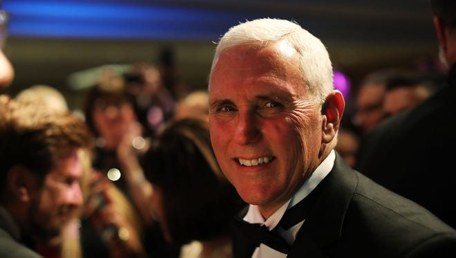 Vice President Mike Pence, shown in this January photo on the eve of his inauguration, was the headline speaker at the Gridiron Club dinner March 4, 2017.
