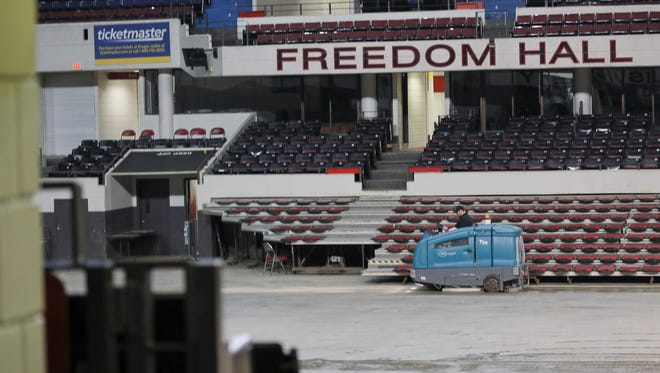 Mike Diaz drives a floor scrubber at Freedom Hall in Louisville, KY. Mar. 6, 2017