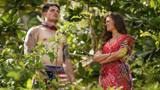 "Caleb Reynolds and Hali Ford stand together during the season premiere of ""Survivor: Game Changers,"" which premiered Wednesday night."