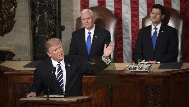 President Donald Trump addresses Congress. Trump and GOP legislators have called for repealing and replacing the Affordable Care Act, or Obamacare.