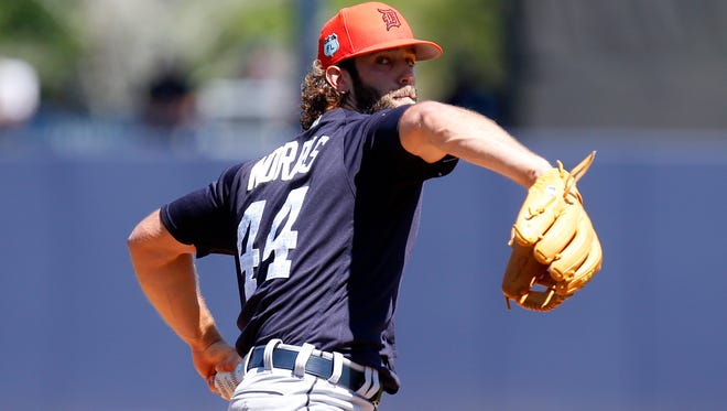 Daniel Norris #44 of the Detroit Tigers pitches in the first inning against the New York Yankees during a spring training game at George M. Steinbrenner Field on March 11, 2017, in Tampa, Fla.