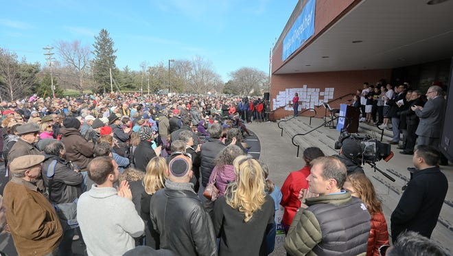 Scene during the We Stand Together Rally for Unity at the Jewish Community Center in Louisville, KY. March 12, 2017