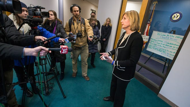 Rep. Claudia Tenney speaks to members of the media inside her new office in downtown Binghamton on March 13.