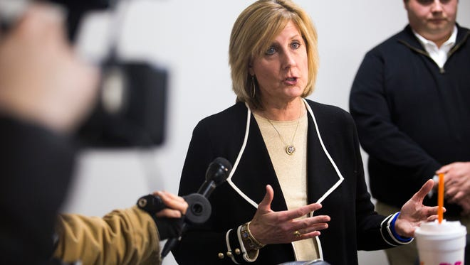 Rep. Claudia Tenney speaks to members of the media inside her new office in downtown Binghamton on Monday.
