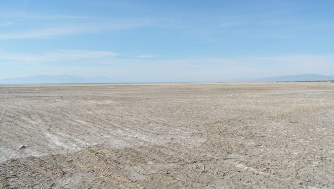Local and state officials were taken on a tour of exposed lakebed at Red Hill Bay on the Salton Sea during the Salton Sea Leadership Tour, Thursday, March 16, 2017.