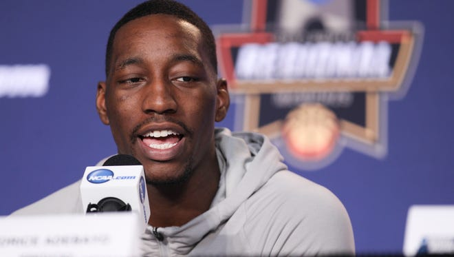 Bam Adebayo answers a question on the dais during off-day press conferences Saturday in Memphis.  The Cats will take on North Carolina Sunday afternoon in Memphis to advance to the Final Four.March 25, 2017