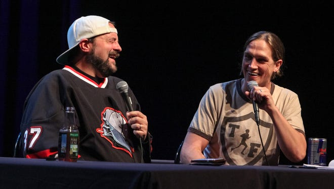 """Actors Kevin Smith, left,  and Jason Mewes, right, recorded their comedy podcast """"Jay and Silent Bob Get Old"""" during the 2017 Freep Film Festival pre-party at the Fillmore Detroit Wednesday, March 29, 2017."""