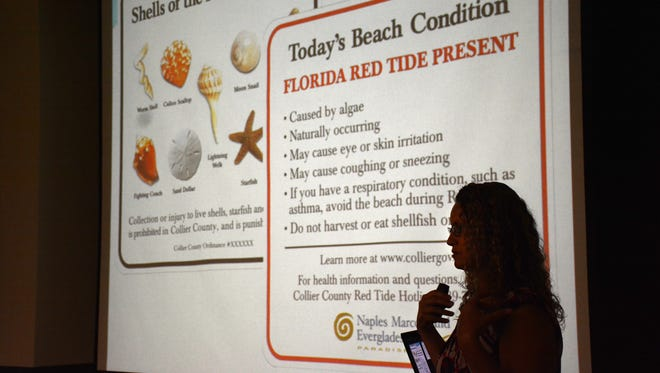 Rhonda Watkins, principal environmental specialist, lays out the science and history of red tide.