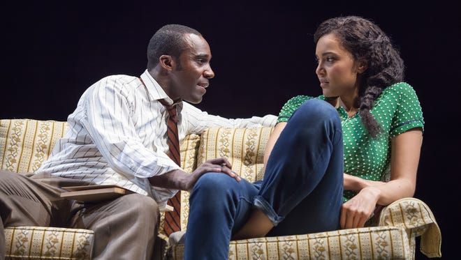 """Tramell Tillman (L) and Rebecca S'manga Frank are seen in the opening scene of  the Playhouse in the Park's world premiere production of Jen Silverman's """"All the Roads Home."""" The show runs through April 23."""
