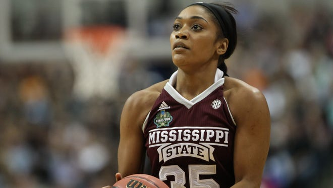 Mississippi State's Victoria Vivians (35) prepares to take a shot in the first half. Mississippi State played South Carolina in the championship game of the NCAA Women's Final Four in Dallas on Sunday, April 2, 2017. Photo by Keith Warren(Mandatory photo credit