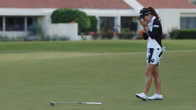 So Yeon Ryu reacts after sinking a putt to win the ANA Inspiration, Sunday, April 2, 2017.