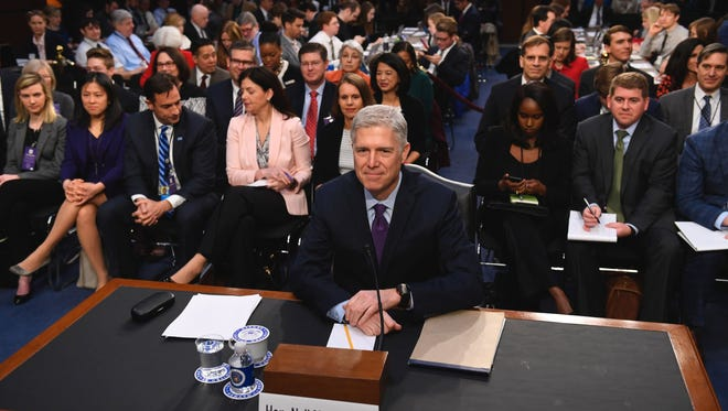 Neil Gorsuch arrives for the second day of his confirmation hearings before the Senate Judiciary Committee on March 21.