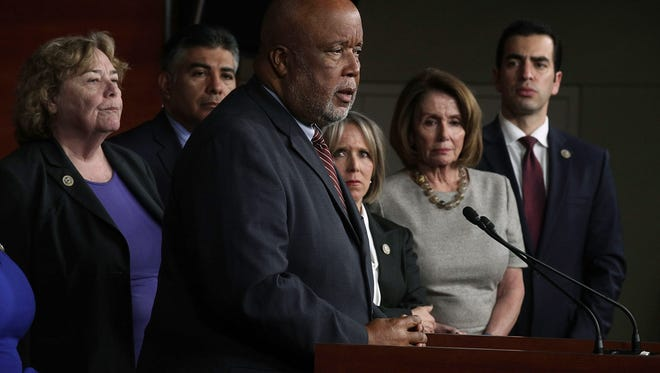 Rep. Bennie Thompson, D-Miss., speaks at  a press conference in February. Thompson, the top Democrat on the House Homeland Security Committee, is calling for a hearing on the threat of domestic terrorists, including white supremacists.