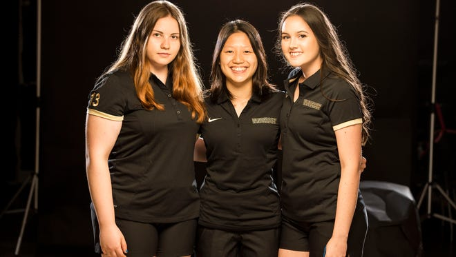 Vanderbilt bowling will chase a national championship this week on the strength of international talents, from left, Maria Bulanova (Russia), Kristin Quah (Singapore) and Emily Rigney (Australia).