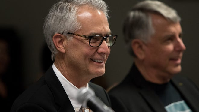 Greg Gillespie smiles as he is named the new chancellor of the Ventura County Community College District. Gillespie took over as chancellor on July 1 after having been named to the post in April. Students at the three community college campuses went back to class on Aug. 14.