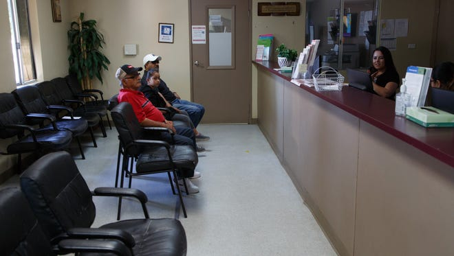 Patients wait at the Borrego Health clinic near Oasis, California, Monday, April 10, 2017.  The clinic has noticed a significant number of patients missing appointments since the beginning of the year.