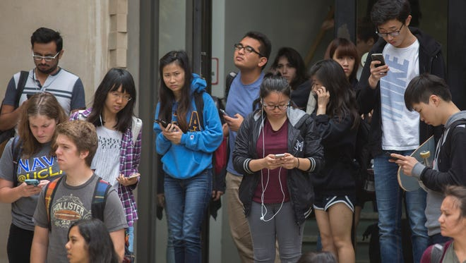 Students on the UCLA campus in Los Angeles.