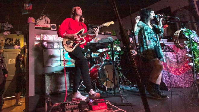 Detroit-based indie-pop group Valley Hush perform at UHF Records in Royal Oak during the stores Record Store Day 2017 celebration.