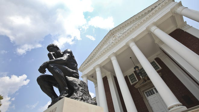 The Thinker? statue, shown above, sits in front of Grawemeyer Hall at U of L.