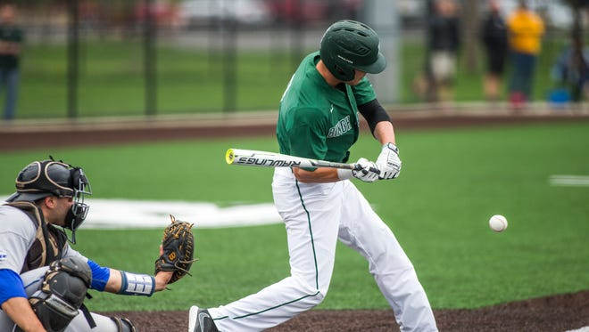 Binghamton University's C.J. Krowiak swings at a pitch during a game against Central Connecticut State on April 29, 2017.