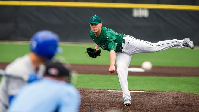 Nick Wegmann, seen here pitching for Binghamton University last spring, was selected by the Seattle Mariners in the 34th round of MLB's Amateur Draft.