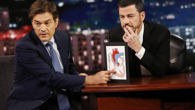 Mehmet Oz, aka TV's 'Dr. Oz,' who specialized in cardiothoracic surgery, gives Jimmy Kimmel's audience a primer on how the heart works.