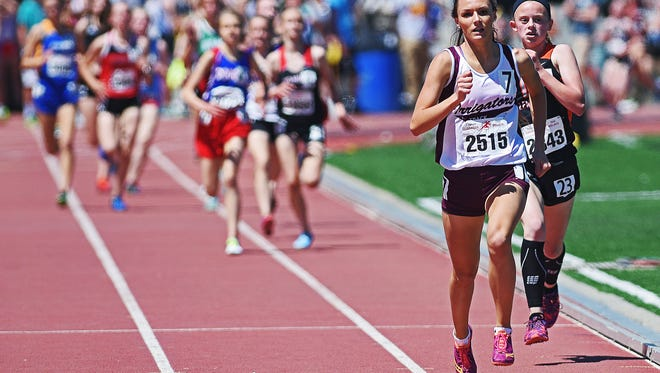 Newell's Delaney Leber runs in the high school girls 1600-meter run during the Howard Wood Dakota Relays Saturday, May 6, 2017, at Howard Wood Field in Sioux Falls.
