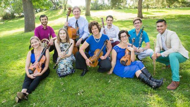 The Chinook Winds and Cascade Quartet include, from left, Maria Ritzenthaler (viola), Mike Nelson (horn), Lauren Blackerby (oboe), Thaddeus Suits (cello), Mary Papoulis (violin), Dorian Antipa (bassoon), Megan Karls (violin),  Christopher Mothersole (clarinet) and Norman Gonzales (flute).