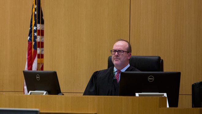Judge Scott McCoy listens to arguments in Aaron Saucedo's case at the Maricopa County Superior Courthouse in Phoenix on May 17, 2017.
