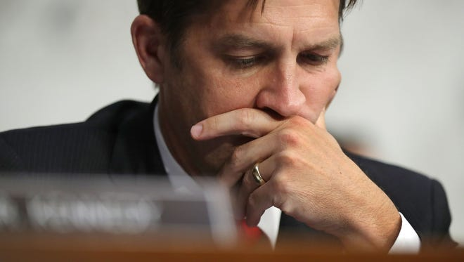 Senate Judicary Committee member Sen. Ben Sasse (R-NE) listens to witnesses during a subcommittee hearing on Russian interference in the 2016 election in the Hart Senate Office Building on Capitol Hill May 8, 2017 in Washington, D.C.