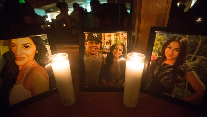 A photo of Audrey Moran and Jonathan Reynoso at a prayer at Our Lady of Soledad Catholic church in the city of Coachella. The couple has been missing since May 10, 2017.