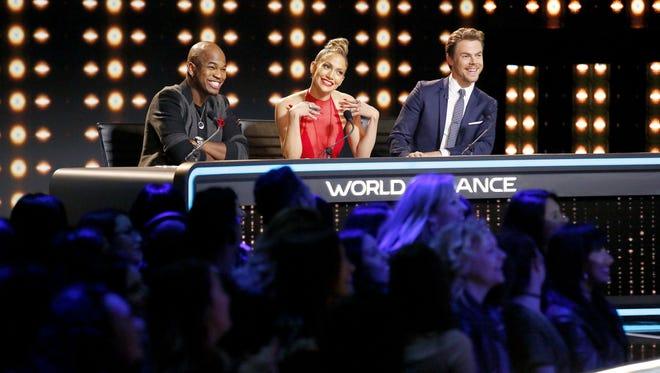 Star performers Ne-Yo, left, Jennifer Lopez and Derek Hough make up the judging panel on NBC's 'World of Dance.'