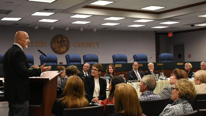 Bill O'Neill, vice chair of the David Lawrence Center, addresses the meeting. Collier's Board of County Commissioners held a workshop on Tuesday in the commission chambers to discuss community mental health services.