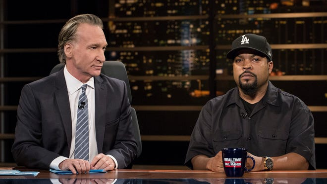 """In this image released by HBO, host Bill Maher, left, appears with actor-rapper Ice Cube during a broadcast of """"Real Time with Bill Maher,"""" on Friday, June 9, 2017, in Los Angeles. (Janet Van Ham/HBO via AP)"""