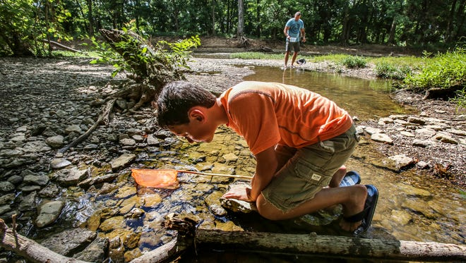 Sam Ray, and his dad, Michael, spent the morning looking for crawfish along Floyds Fork. June 13, 2017