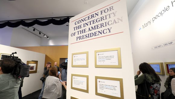 One of the many exhibits devoted to Trump's tweets.