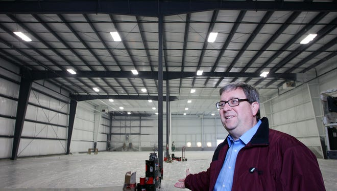 Rick Platt, executive director of Heath-Newark-Licking County Port Authority, shows off a 20,000 square foot spec building in 2015.