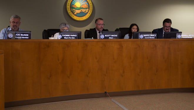 The Desert Hot Springs city council, seen at a previous meeting. On Wednesday, the body voted in favor of holding a special election in November 2017.