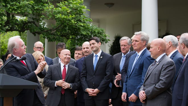 Tom Price, U.S. Secretary of Health and Human Services, speaks at President Trump's news conference with members of the GOP, on the passage of legislation to roll back the Affordable Care Act, on May 4, 2017, in the Rose Garden of the White House in Washington, D.C. (Cheriss May/Sipa USA/TNS)