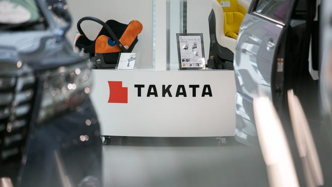 A Takata Corp. logo is seen on a display of child safety seats at a car showroom on June 26, 2017 in Tokyo, Japan. Japanese air bag maker Takata Corp. has filed for bankruptcy protection in Tokyo and the U.S. on June 26, 2017, overwhelmed by the outcome following its production of faulty air bag inflators that are linked to the death of more than 180 people globally. The company announced most of its assets will be bought by the Detroit rival, Key Safety Systems for about $1.6 billion (175 billion yen).