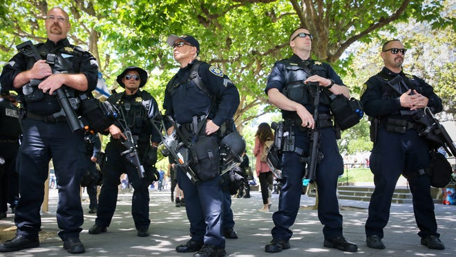 Police officers at University of California, Berkeley on April 27, 2017.