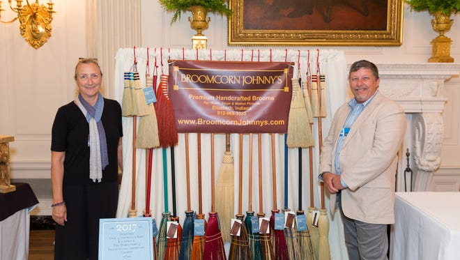 Broomcorn Johnny's of Indiana, representatives Liz Rubel and Brian Newton, is one of the 50 state products on display during the Made in America Product Showcase, Monday, July 17, 2017, in the East Room at the White House in Washington, D.C. T