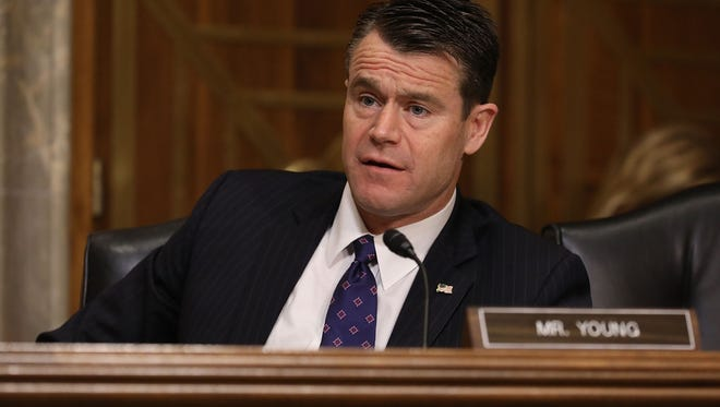 Senate Foreign Relations Committee member Sen. Todd Young, R-Ind., questions witnesses during a committee hearing April 25, 2017 in Washington, DC.