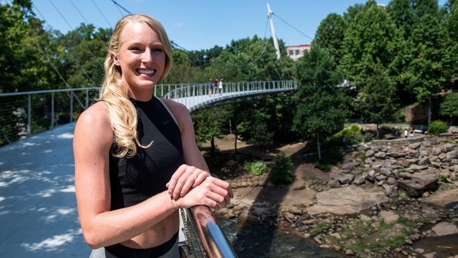 Olympic silver medalist Sandi Morris is in Greenville for the Liberty Bridge Jump-Off on Wednesday.