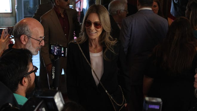 "Director Kathryn Bigelow greets the press on the red carpet during world premiere of the movie ""Detroitâ€ù at the Fox Theatre."