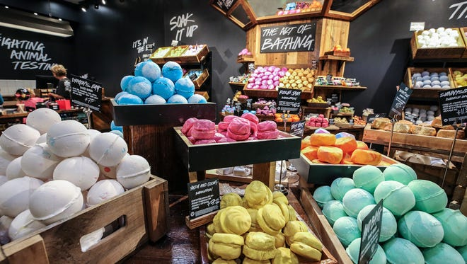 Lush has an open concept giving it the appearance of a farmers market for cosmetics.