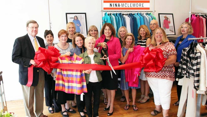 Pictured from left are Ed Fisher, Farmers Insurance; Rackline Hoff, Birmingham City Commissioner; Patty Bordman, Birmingham City Commissioner; Ingrid Tighe, Director of the Birmingham Shopping District;  Carol Giles, Nina McLemore; Bonnie Miles, Birmingham Bloomfield Chamber; Alicia Green, Aqua Advantage; Kathy Zanolli, Nina McLemore; Pam Audette, Bank of Ann Arbor; Lynn Gillow, Farmers Insurance; Andy Roisman, Arcadia Home Care; Carroll DeWeese, Birmingham City Commissioner; Michele Rhodes, Simple Mortgage; Amy Linenfelser, Nina McLemore.