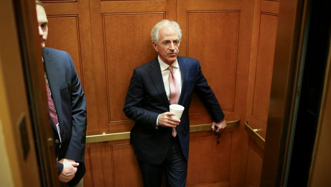 Sen. Bob Corker (R-Tenn.) arrives to the U.S. Capitol Building to vote on the health care bill on July 26, 2017 in Washington, D.C. (Oliver Contreras/Sipa USA/TNS)